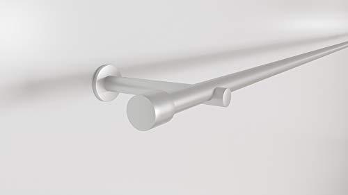 Market-Alley Gardinenstange, Vorhangstange, metall, Durchmesser: 16mm/19mm, Silber/Gold/Edelstahl, 1/2-läufig, mit Endstück, einfache Montage, ohne Ringe (240cm ; Silber ; 1-läufig ; 16mm)