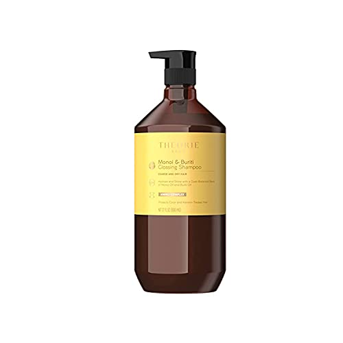 THEORIE Monoi and Buriti Glossing Shampoo - Hydrate & Shine - Suited for Coarse and Dry Hair - Protects Color & Keratin Treated Hair, Pump Bottle 800mL