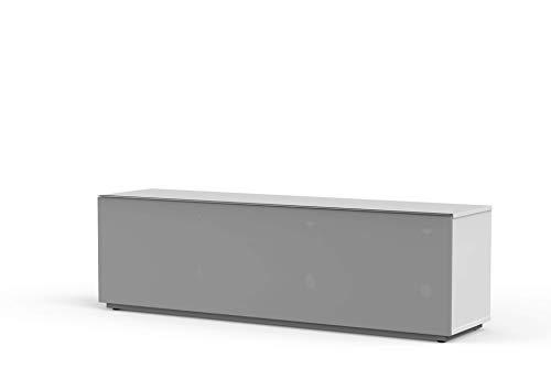 Meloni MyTV Stand 16040F Textile White TV Möbel 160x40 cm Kompletttür IR Friendly und Sound Friends Ideal für Soundbar, gefederte Öffnung mit Gas-Kolben