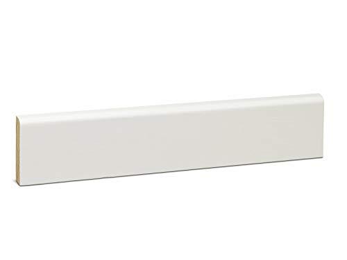 KGM Deckleiste abgerundet – Scheuerleiste Kiefer Massivholz – weiß lackiert – Maße: 2400 x 10 x 58 mm – 1 Stück