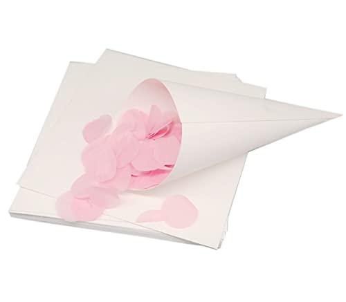 MKISHINE 50 Conetti Porta Confetti in Carta per Matrimoni + Biadesivo,Facili da Montare e Buon Materiale, Coni per Matrimoni,Coni Porta Riso o coriandoli,Bomboniere per Matrimonio