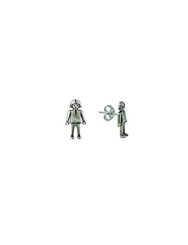 Playmobil - Pendientes Cuerpo'Niña Playmobil'. Plata De Ley. Alto Pieza: 16 Mm