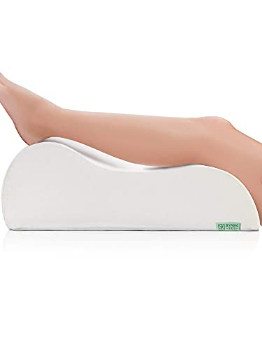 Almohada para piernas y Venas - Cojin ergonomico de Espuma Firme, Funda Suave de Oeko-Tex cojin cuña, cuña elevar piernas, Gran cojín para pies, Almohada Rodillas - DYNMC YOU - Blanco