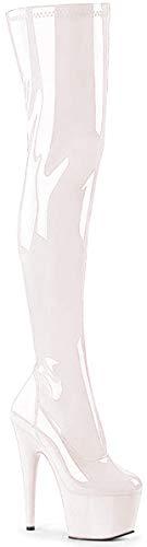 Pleaser Damen ADORE-3000 Kurzschaft Stiefel, Weiß (Weiss (Wht STR Pat/Wht), 38 EU