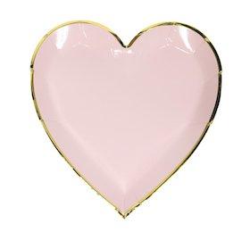 InviteMe 10 Bezaubernde Pastell Rosa Herz Teller mit Gold Glänzendem Rand