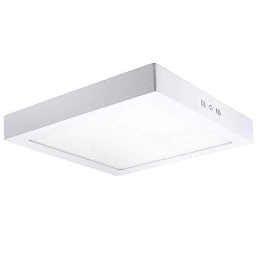 FactorLED ¡NOVEDAD! Downlight Panel Superficie LED Cuadrado 20W, Plafón para techo y pared, Placa interior, (3000K-4000K-6000K), [Clase de eficiencia energética A++] (Luz Natural (4000K))