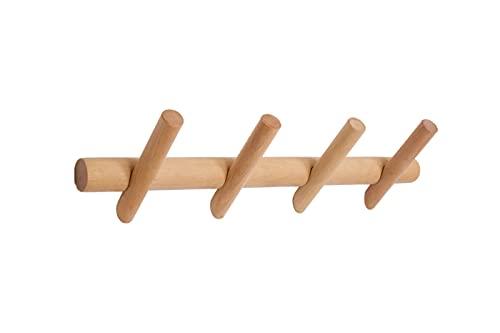Appendiabiti da parete in legno | Attaccapanni da muro in stile moderno adatto per qualsiasi ambiente di casa | Arredo di design (4 Ganci)