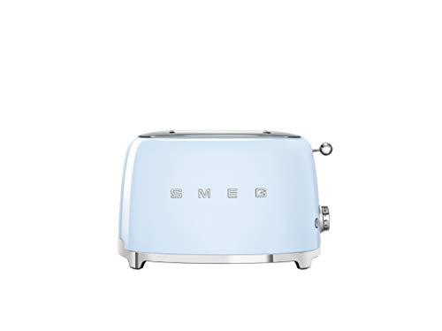 SMEG Tostadora TSF01PBEU de acero inoxidable, 2 compartimentos, azul