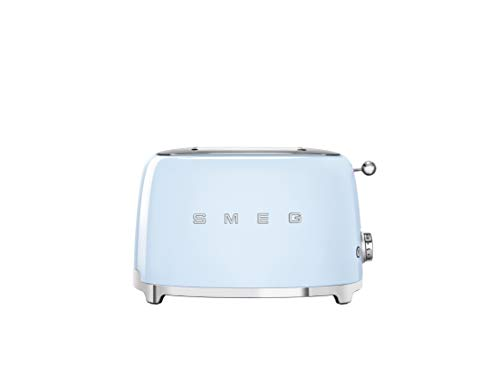 SMEG TSF01PBEU Toaster, Edelstahl, 2 Fächer, Hellblau