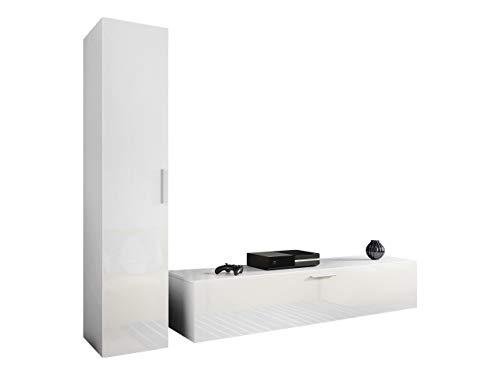 Wohnwand Tarok Anbauwand, TV Lowboard + Hängeschrank, Metall Griffe, Wohnzimmer Set, Wohnzimmerschrank für TV, Mediawand, Schrankwand (Weiß/Weiß Hochglanz)
