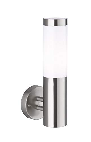 WOFI Außenwandleuchte, Stahl, E27, 60 W, Edelstahl Gebürstet Roh, 14 x 11 x 33.5 cm