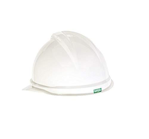MSA Sombrero duro de polietileno blanco con suspensión de trinquete de 6 puntos