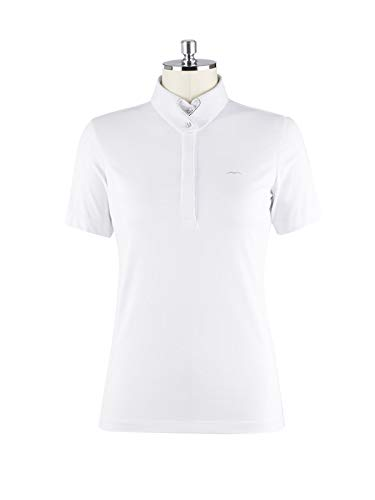 Animo Damen Turniershirt Polo Shirt Birka Weiss Swarovski (D34/I40)