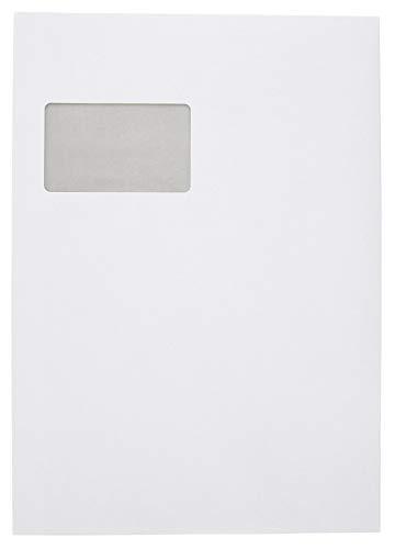 Idena 10236 - Versandtasche DIN C4, 90 g/m², selbstklebend, mit Fenster, FSC-Mix, weiß, 250 Stück
