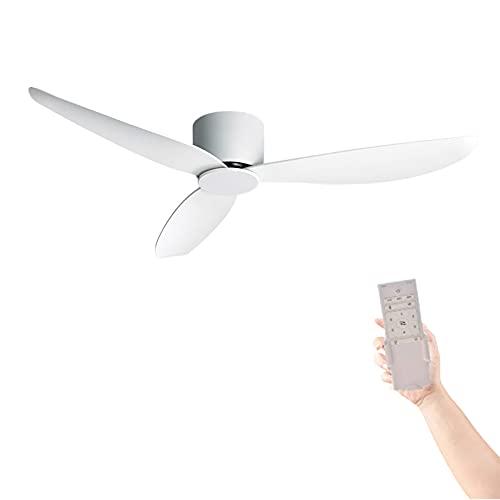 XSGDMN Deckenventilator Moderner Weißer Deckenventilator, Reversibler Ventilator Großer Raum-Deckenventilator mit Fernbedienung, Gleichstrommotor für Terrassen Schlafzimmer/Wohnzimmer - 132 cm