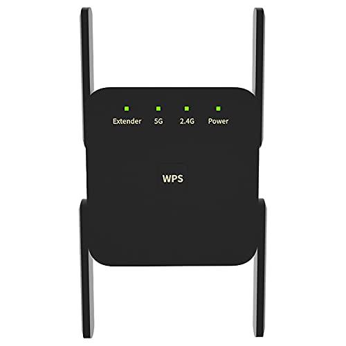 Hache Banda Dual Extensor WiFi Repetidor Inalámbrico Amplificador De Señal De Internet 1200 Mbps Compatible 2,4G 5G Frecuencia 802.11Ac / A/B/G/N Soportado,Negro