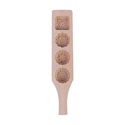 Herramienta de horneado de pastel de pastel de luna de madera de 4 hoyos para hacer la piel del hielo de la frijol mung Chino tradicional mediados de otoño del otoño regalo ( Color : 5AC304755-02 )
