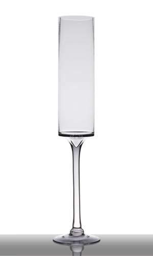 INNA-Glas Set 2 x XXL Glas TOSKA auf Standfuß, Zylinder - Rund, klar, 61cm, Ø 13,5cm - Deko Glas - Sektglas