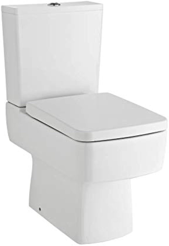 VeeBath Cubix Square Toilet Luxury Bathroom Cistern Pan & Seat. Compact- 610mm