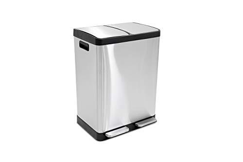 LIFA LIVING Cubo de basura con pedal, 2 compartimentos, papelera de acero inoxidable, cubo de basura doble, 40 litros