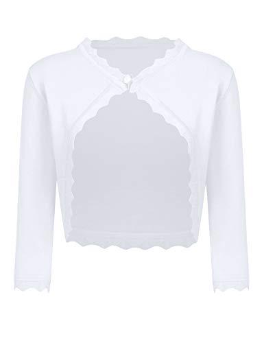 Bricnat Bolero Damen Kurz Strickjacke Elegant Bolerojacke Schulterjacke Cardigan Langarm Shrug Top zum Kleid (S, A-Weiß)