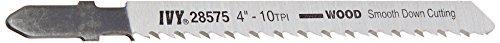 IVY Classic 28575 4-Inch 10 TPI T-Shank Jig Saw Blade, Wood/Laminate Down-Cutting, High-Carbon Steel, 3/Card