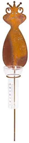 B2S BACK2SEASON Metall Stab Frosch mit Regenmesser Edelrost Niederschlagsmesser Wetterstation