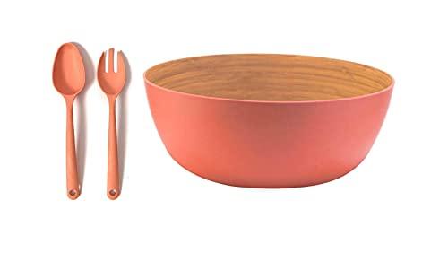 Ensaladera Cuenco bambú orgánico Naranja + Set Cubiertos para Ensalada. 23 cm, x 10 cm. I Fibra de Bambú. Vajilla ecológica bambú I Libre de BPA y Apto lavavajillas, Cuenco ensaladera.