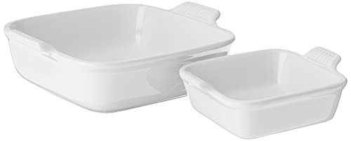 Le Creuset Stoneware Heritage Set of 2 Square Dishes , Small - 18 oz. & Medium - 2 qt., White