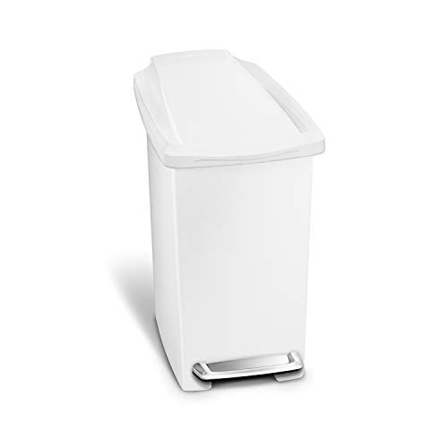 simplehuman CW1332 10L Slim Pedal Bin, Small Bin for Bathroom Bedroom Office, Strong Steel Pedal, Slim Space-Saving Shape, White Plastic