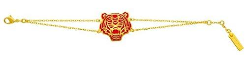 Bracelet Kenzo tigre plaqué or et émail rouge