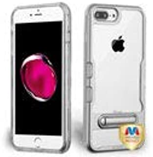 MyBat Cell Phone Case for Apple iPhone 6S Plus/6 Plus/ 8 Plus/7 Plus - Metallic Silver/Clear with Magnetic Stand Solid