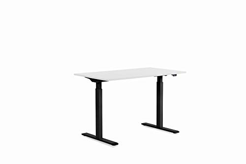 Kare Design Office 120 x 70 cm, eléctrico Doble Motor, Estructura de Mesa Regulable sin Niveles con Tablero de Mesa, Asiento de Escritorio, Negro y Blanco, 18 mm MFC ABS Borde de plástico
