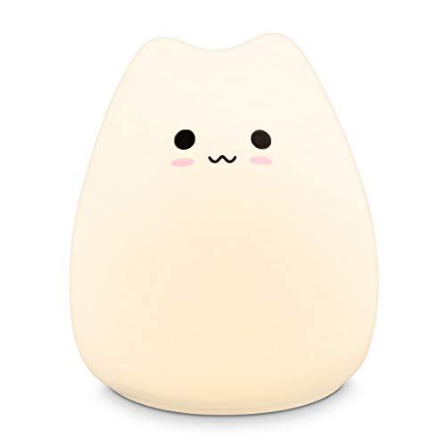 Navaris XS LED Nachtlicht Katze Design - mit Energiesparfunktion - Süße Farbwechsel Kinder Nachttischlampe - Schlummerlicht Nachtlampe in Weiß