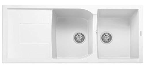 Lavello PLADOS Linea CORAX 116.20 a due vasche più scolapiatti (Bianco Latte)