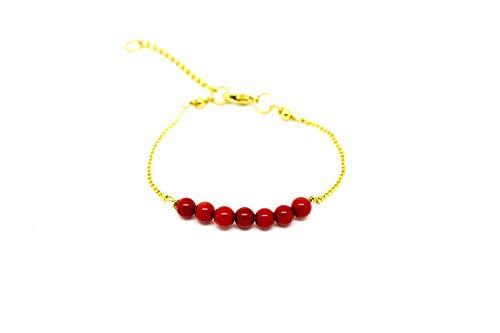 Kokomorocco Pulsera Piedras Naturales,Coral, Rojo, Mujer, baño Oro 18 k, Pulsera Ajustable Regalos Originales