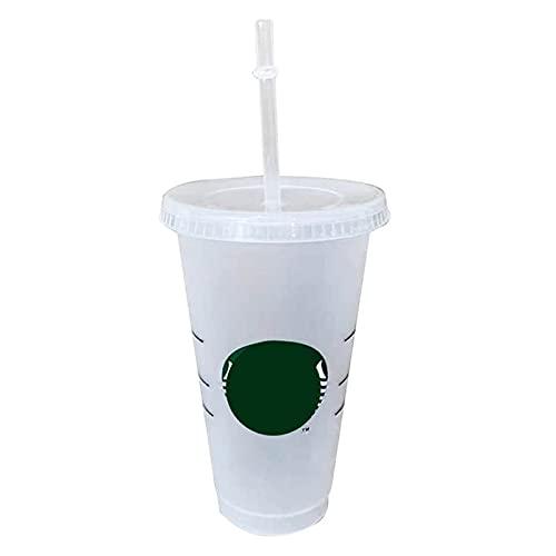Taza De Paja De 700 Ml con Tapa con El Logotipo De Tazas Reutilizables De Plástico Taza De Café Fría Regalo De Fiesta Family (Capacity : 700ml, Color : 1)