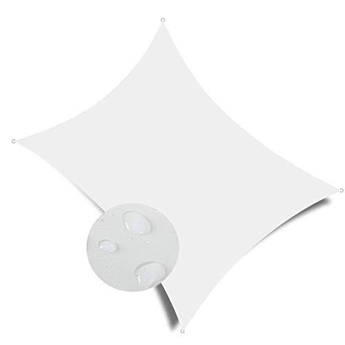COUEO Toldo Vela Cuadrado 3.5x6m Resistente a la Intemperie Protección Solar, Toldo Vela IKEA con Fijación Accesorios para Patio Exteriores, Blanco