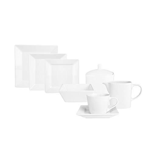 KARACA Denisa 38 TLG Weiß Porzellan Geschirrset Kombiservice Tafelservice mit 6 Suppenteller, 6 Speiseteller, 6 Servierteller, 6 Dessertteller, 6 Tasse, 6 Untertasse, 1 Milchgießer, 1 Zuckerbehälter