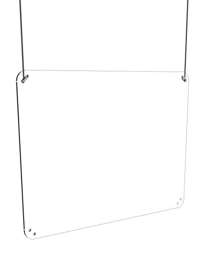 Vertical or Horizontal Protective Sneeze Guard Acrylic Plexiglass Hanging Shield (36' x 24')