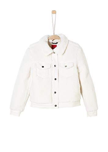 s.Oliver Mädchen Teddy-Plüsch-Jacke mit Jeans-Details Cream S