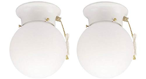 Westinghouse One-Light Flush-Mount Interior Ceiling Fixture with Pull Chain, White Finish with White Glass Globe 2 pack (White With Pull Chain 2 Pack)