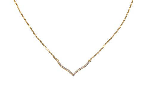 Jenna Hunter Gold Plated & CZ Wave Necklace - Fashionable and Unique Design for Women 925 Sterling Silver Base with Cubic Zirconia Stones