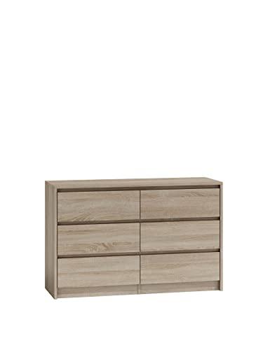 ADGO Karo K120 Cómoda con 6 cajones, 120 x 75 x 40 cm, armario clásico con estantes para dormitorio, pasillo, salón, habitación de los niños, de pie profundo (envío en 2 paquetes) (roble sonoma)