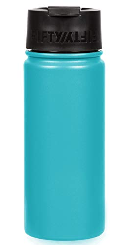 Fifty/Fifty 18oz, Double Wall Vacuum Insulated Café Water Bottle, Stainless Steel, Flip Cap w/ Wide Mouth, Aqua, 18oz/530ml