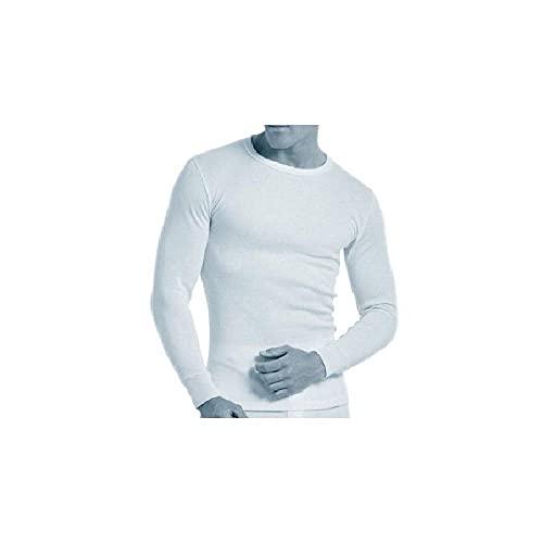 Abanderado - Camiseta térmica de manga larga y cuello redondo para hombre, color Blanco, talla 56 (XL), Talla Internacional: L