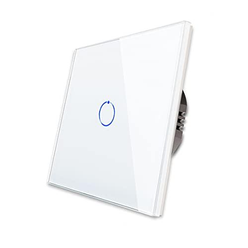 CNBINGO Interruptor de luz individual blanco, interruptor táctil, con panel táctil de cristal y LED de estado, no se necesita conductor neutro, interruptor de 1 pin, AC 240 V, 800 W/compartimento