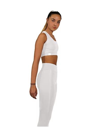 Mallas Push Up para Deporte de Mujer, Leggins Pantalon Deporte Yoga, Leggings Mujer Fitness Suaves Elásticos Cintura Alta para Reducir Vientre (XS/S, Blanco)