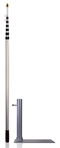 Flagpole-To-Go Ultimate Tailgaters Package with 20' Portable Flagpole, Silver