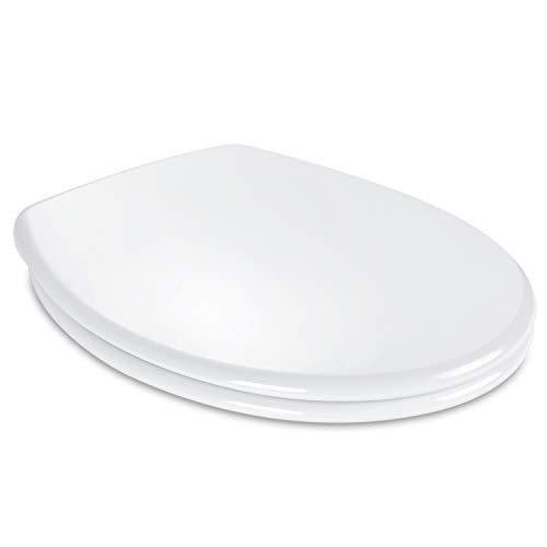 Copriwater Universali, TACKLIFE Tavoletta WC con Chiusura Ammortizzata & Dimensione Standard & Montaggio Rapido & Anti Batterico, Sedile WC Bianco Non Ingiallamento, Forma Ovale di Materiale Robusto